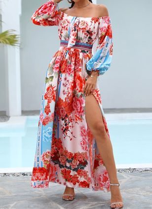 Elegant Floral Off the Shoulder Maxi X-line Dress (146775894)