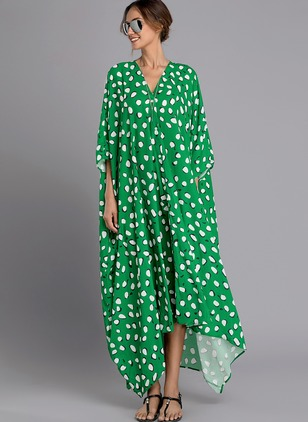 Polka Dot Long Sleeve Maxi Shift Dress