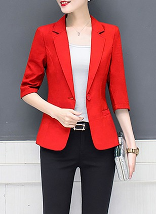 Polyester Lapel Buttons Pockets Coats