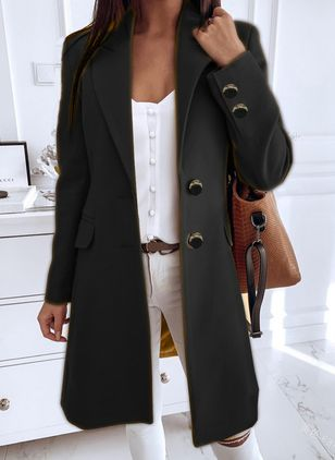 Long Sleeve Buttons Trench Coats (101923909)