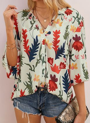 Floral Casual V-Neckline 3/4 Sleeves Blouses (2200312)