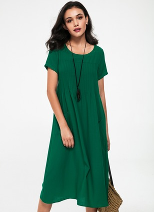 Cotton Solid Short Sleeve Maxi Shift Dress