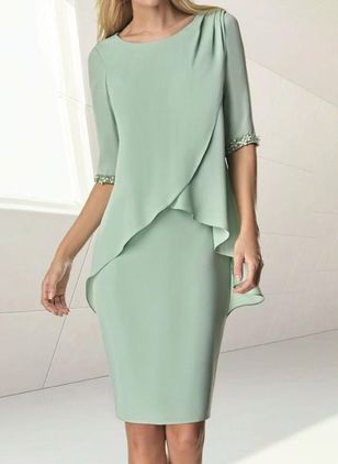 Casual Solid Pencil Round Neckline Sheath Dress