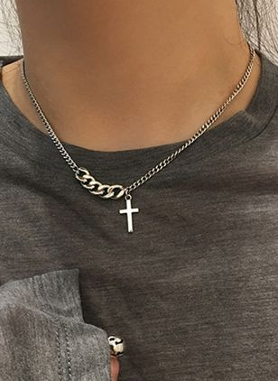 Casual Cross No Stone Pendant Necklaces (4073898)
