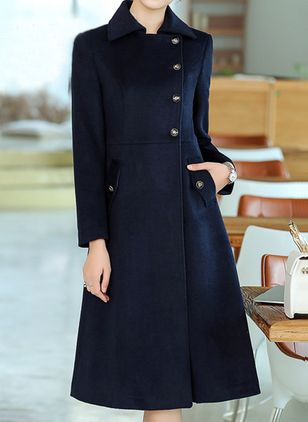 Long Sleeve Collar Buttons Pockets Peacoats (146712577)