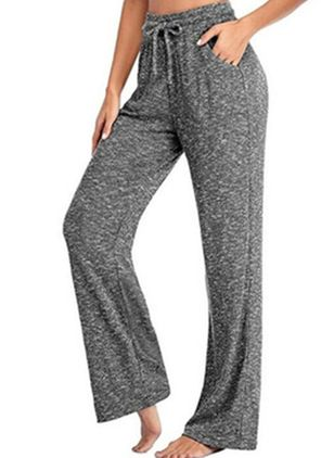 Casual Loose Pockets Mid Waist Polyester Pants (147077133)