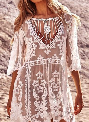Polyester Lace Crochet Floral Cover-Ups Swimwear (4037735)