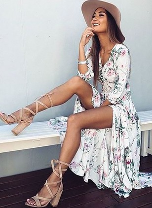 Floral Ruffles 3/4 Sleeves Maxi Dress