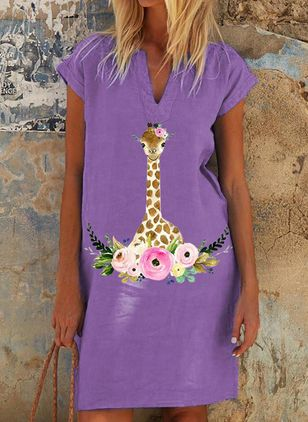 Casual Animal Tunic V-Neckline Shift Dress (100546617)