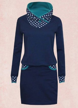Casual Polka Dot Pencil V-Neckline Bodycon Dress (122029723)