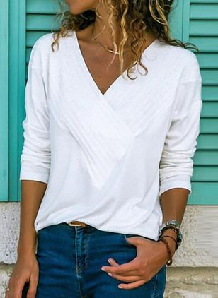 Solid Casual V-Neckline Long Sleeve, Blouses