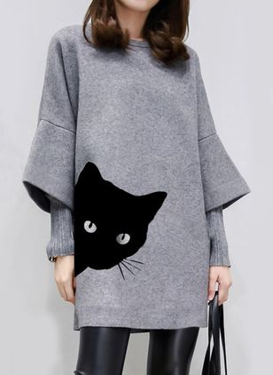 Casual Animal Tunic Round Neckline Shift Dress (1409580)