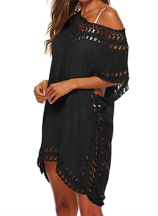 Polyester Cotton Solid Mesh Cover-Ups Swimwear (1512634)