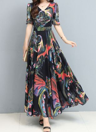 Casual Floral V-Neckline Maxi X-line Dress (6211238)