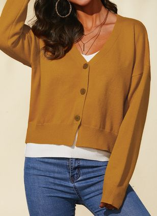 V-Neckline Solid Casual Regular Shift Sweaters (1431396)