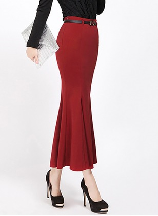 Polyester Solid Maxi Elegant Red Black Skirts