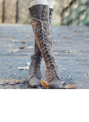 Lace-up Knee High Boots PU Low Heel Shoes