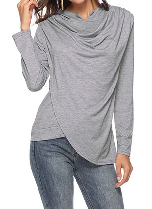 Draped Neckline Solid Loose Regular Shift Sweaters