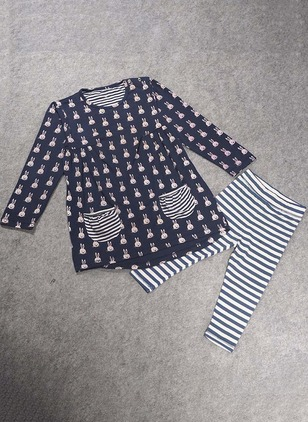 Girls' Casual Animal Daily Long Sleeve Clothing Sets
