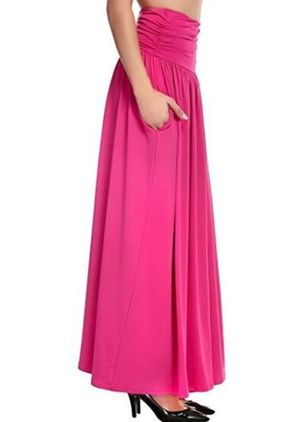 Solid Maxi Casual Skirts (109555645)