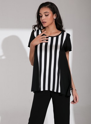 Stripe Casual Polyester Round Neckline Short Sleeve Blouses