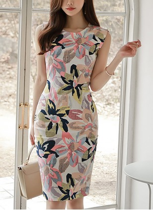 Floral Pencil Sleeveless Knee-Length Sheath Dress