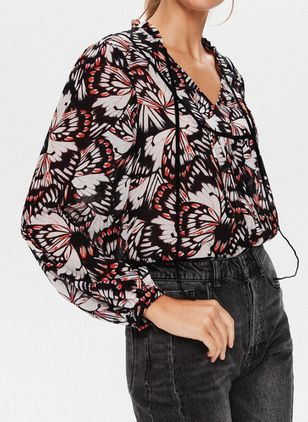 Floral Casual V-Neckline Long Sleeve Blouses (146945392)