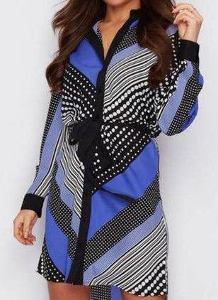 Casual Color Block Wrap Collar X-line Dress (107251747)