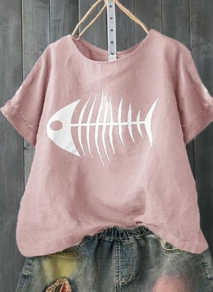 Animal Round Neck Short Sleeve Casual T-shirts