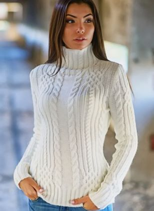 High Neckline Solid Tight Regular Sweaters (1260299)