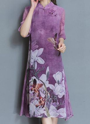 Chinese Style Floral Buttons Tunic Shift Dress (1453885)