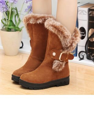 Buckle Mid-Calf Boots Flat Heel Shoes