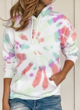 Color Block Alldaglig Hooded Fickor Sweatshirtar (107953387)