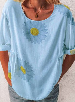 Floral Round Neck Long Sleeve Casual T-shirts (6047013)