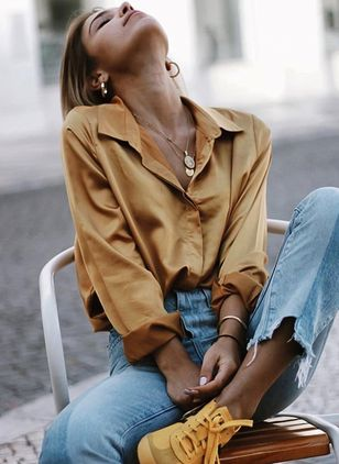 Solid Casual Collar Long Sleeve Blouses