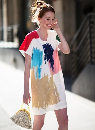 Color Block Tshirt Short Sleeve Dress