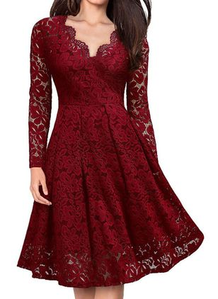 Casual Solid Lace V-Neckline X-line Dress (1397787)