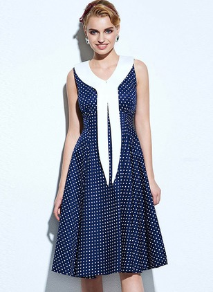 Polka Dot Wrap Skater Knee-Length A-line Dress