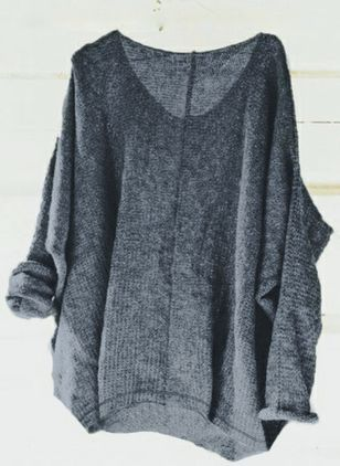 V-Neckline Solid Loose Regular Sweaters