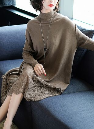 Color Block Lace Sweater Midi Shift Dress
