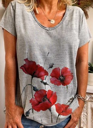 Floral Round Neck Short Sleeve Casual T-shirts (4369647)