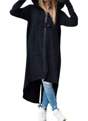 Long Sleeve Hooded Zipper Coats (104917461)