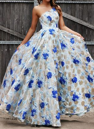Elegant Floral Off the Shoulder Maxi X-line Dress (4134934)