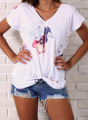 Cotton Floral V-Neckline Short Sleeve T-shirts