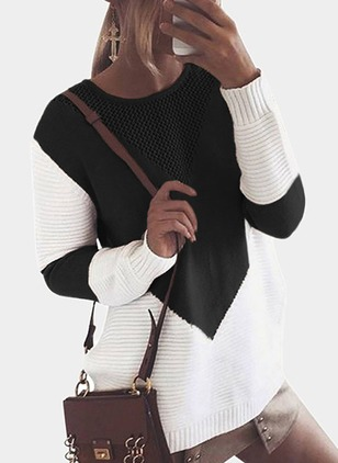 Color Block Round Neckline Long Sleeve Blouses