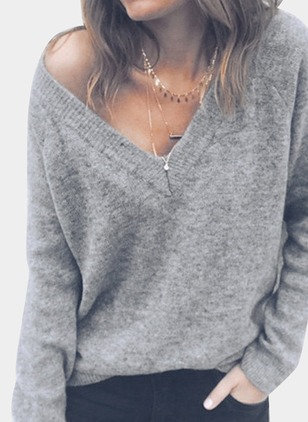 V-Neckline Solid Loose Sweaters