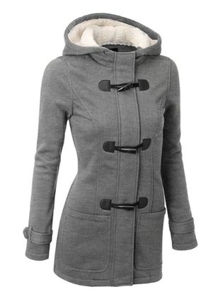 Long Sleeve Hooded Buttons Pockets Coats (128228785)
