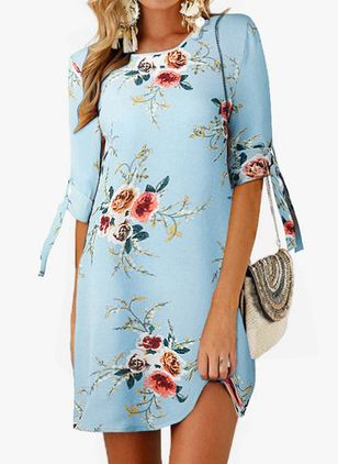Casual Floral Tunic Round Neckline A-line Dress (1525250)