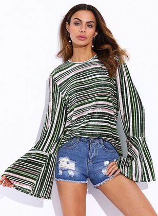 Stripe Vintage Polyester Round Neckline Long Sleeve Blouses