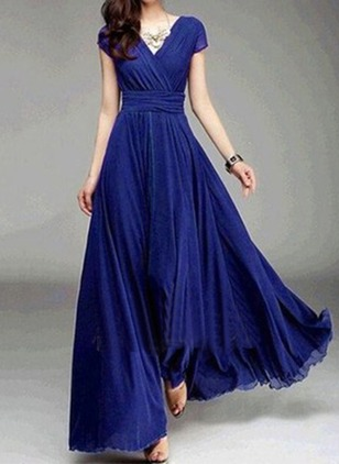 Solid Ruffles Cap Sleeve Maxi A-line Dress